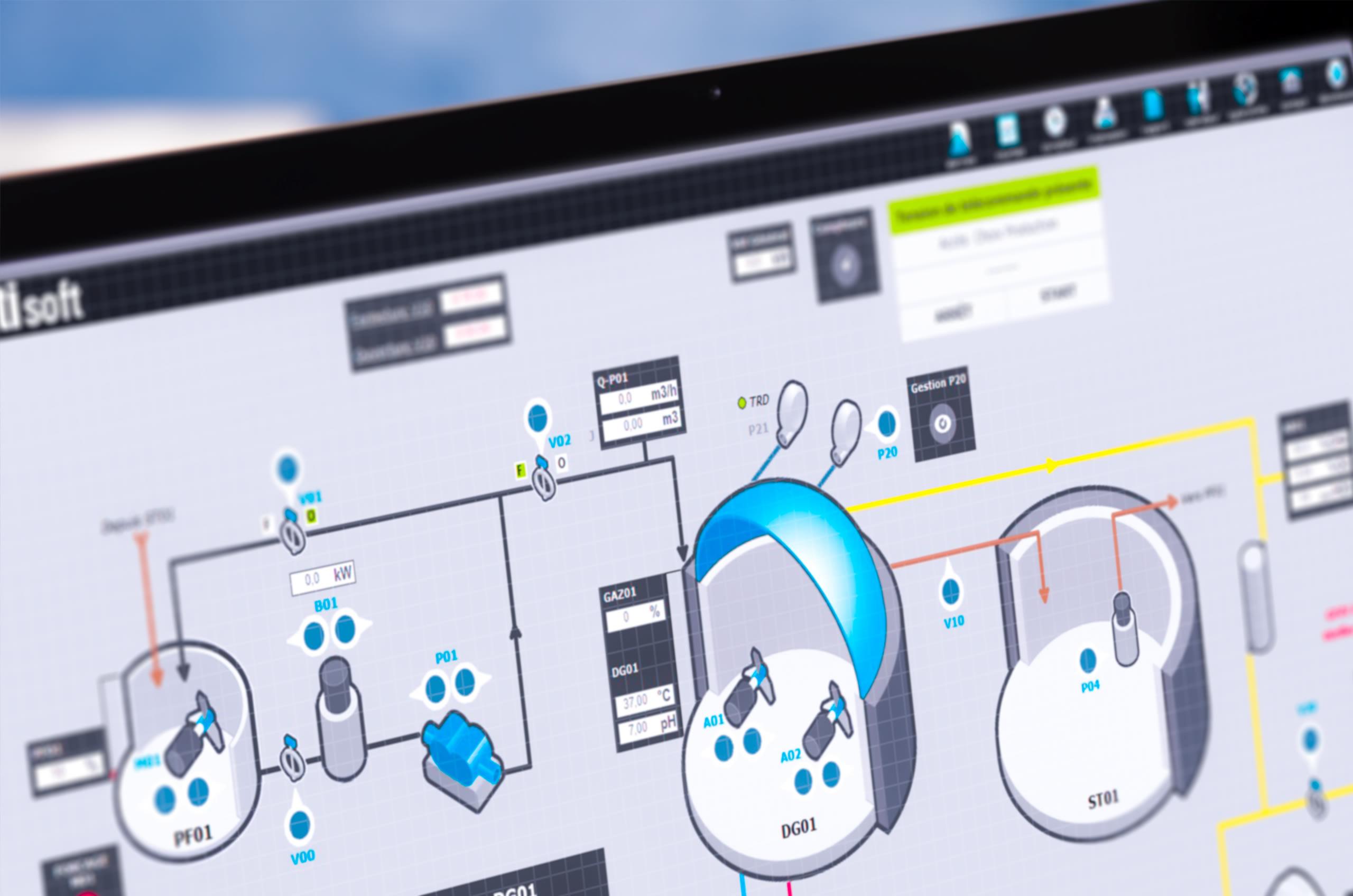 Image de Natisoft de Valpronat d'un synoptique d'une installation de méthanisation